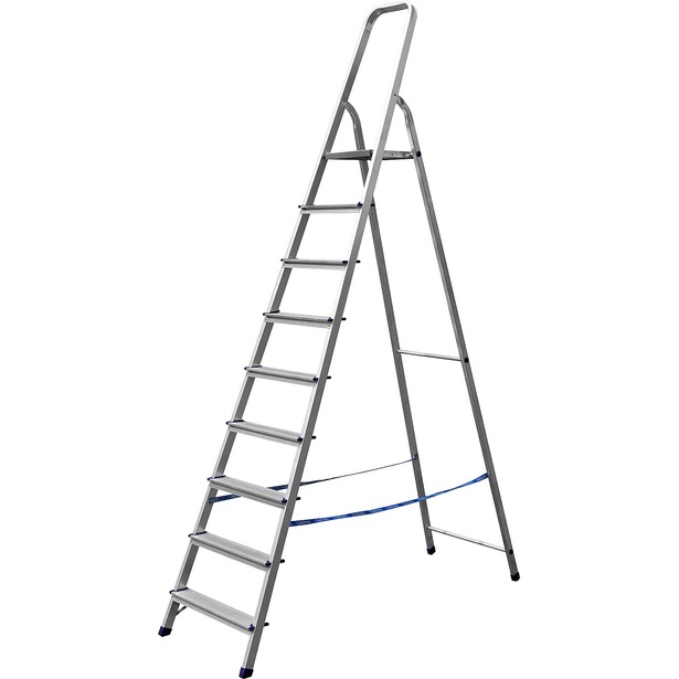 фото Лестница-стремянка Сибин 38801. Высота верхней ступени: 187 см. Количество ступеней: 9