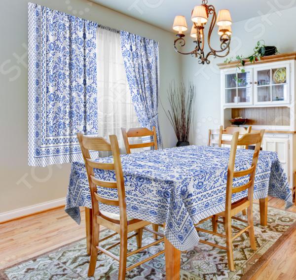 фото Набор для кухни: шторы, тюль и скатерть «Гжель», Фотошторы с цветами/пейзажами