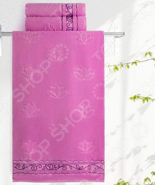 Полотенце махровое Aquarelle «Лотос». Цвет: орхидея