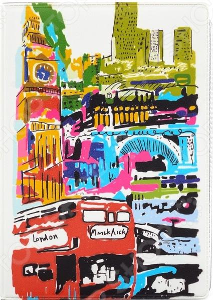 Обложка для автодокументов кожаная Mitya Veselkov «Лондон в красках»
