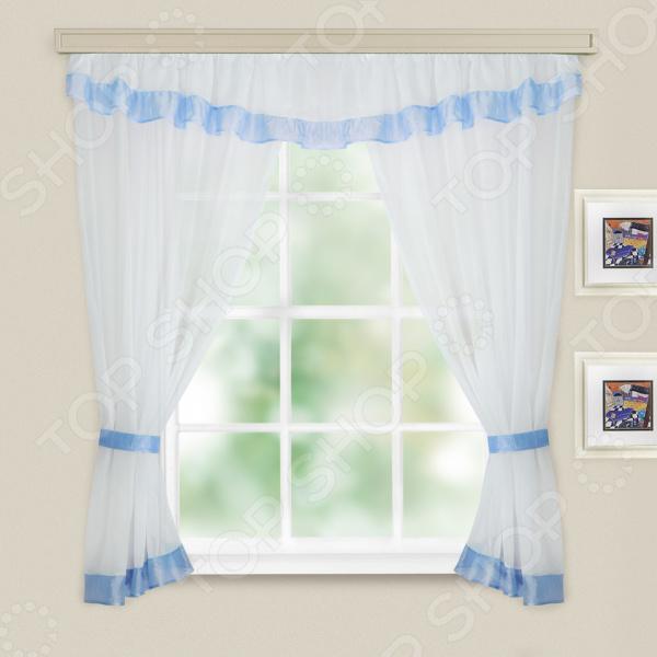 цены Комплект легких штор WITERRA «Акцент». Цвет: белый, голубой