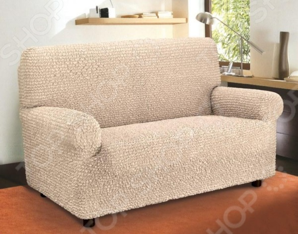 Натяжной чехол на двухместный диван Еврочехол «Микрофибра. Ваниль» 3