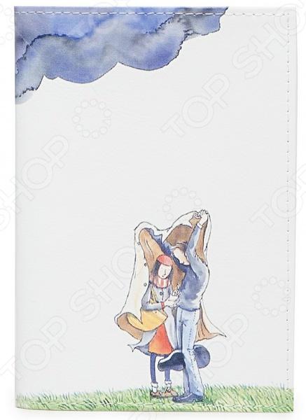 Обложка для паспорта кожаная Mitya Veselkov «Влюбленные и туча»