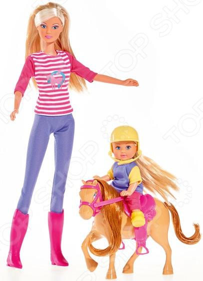Набор кукол Simba «Штеффи и Еви с пони на ферме» simba набор кукол штеффи и еви мир животных