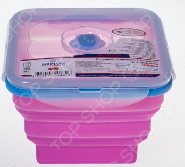Ланч-бокс Bohmann ВН-02-514 это удобный контейнер, который сделан из силикона. Чаша идеально подходит для длительного хранения продуктов в холодильнике, обеспечивает отличную герметичность и плотное прилегание крышки. При необходимости можно простерилизовать объем и подходит для мытья в посудомоечной машине. Контейнер легко моется и не впитывает запах продуктов. Перед разогревом в микроволновой печи необходимо снимать крышку или открыть клапан.