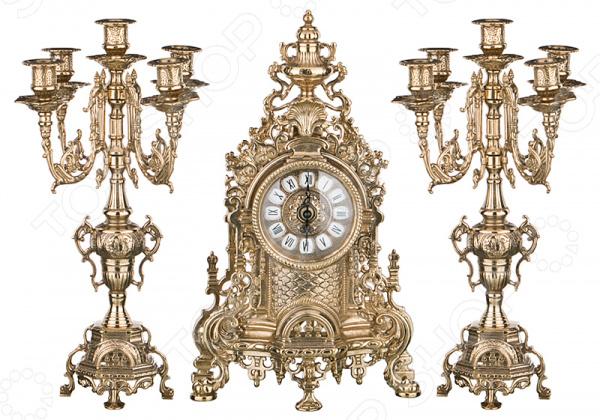 Набор: часы настольные и подсвечники Stilars 333-097 купить часы мальчику 7 лет