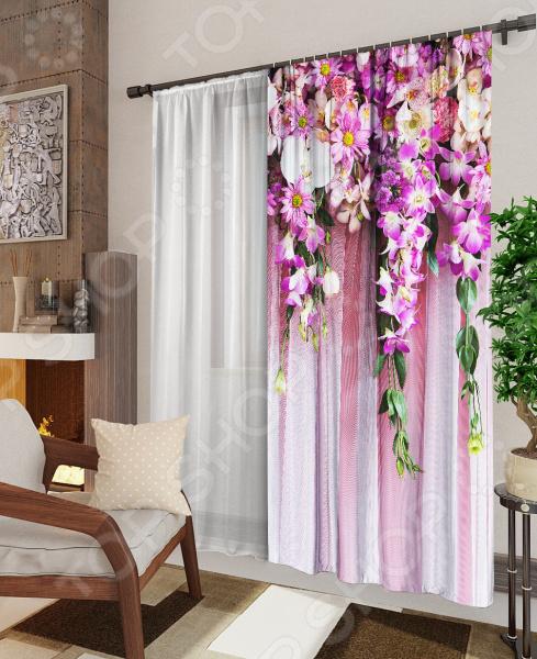 Комплект: фотоштора и тюль ТамиТекс «Ламбрекен из цветов»