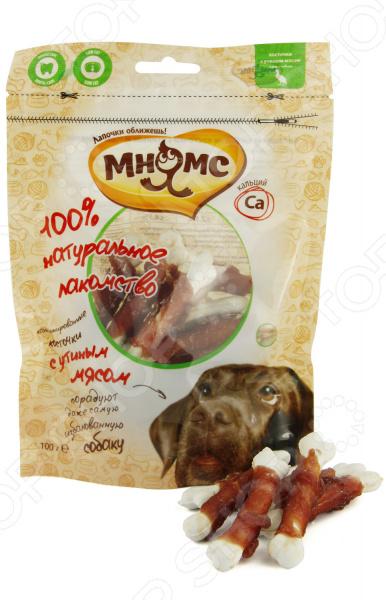 Лакомство для собак Мнямс «Кальцинированные косточки с утиным мясом» абрикосовые косточки в пензе