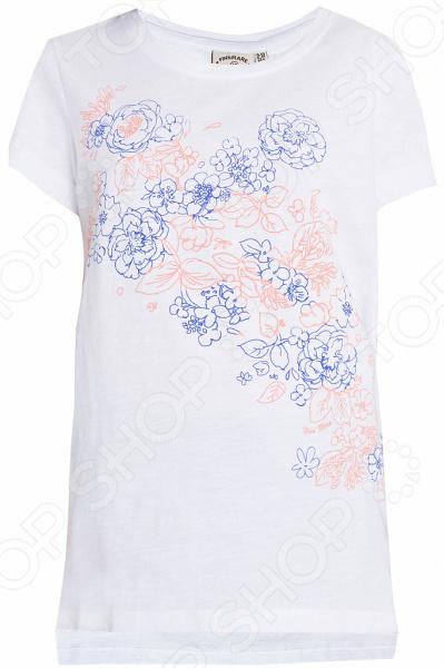 Футболка для девочки Finn Flare KS18-71046. Цвет: белый футболки и топы finn flare kids футболка для девочки kb17 71038