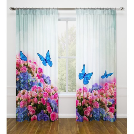 Купить Фотошторы Стильный дом «Бабочки в цветах»