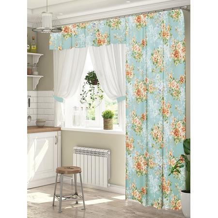 Купить Комплект штор для окна с балконом ТамиТекс «Кантри». Цвет: синий