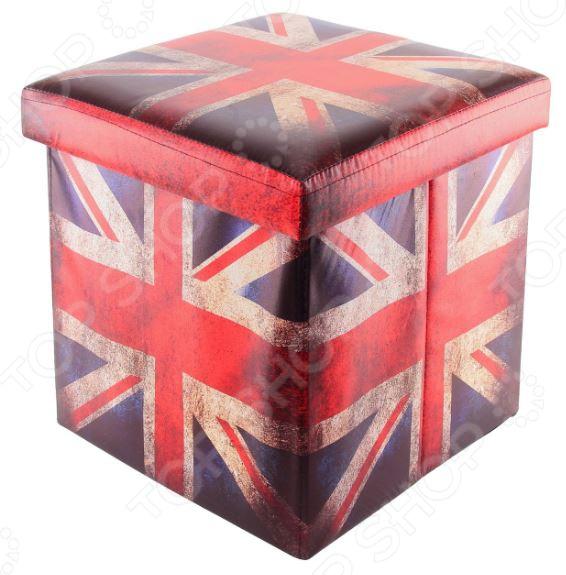 Пуф складной с ящиком для хранения EL Casa «Британский флаг» 35х35х35 см EL Casa - артикул: 972131