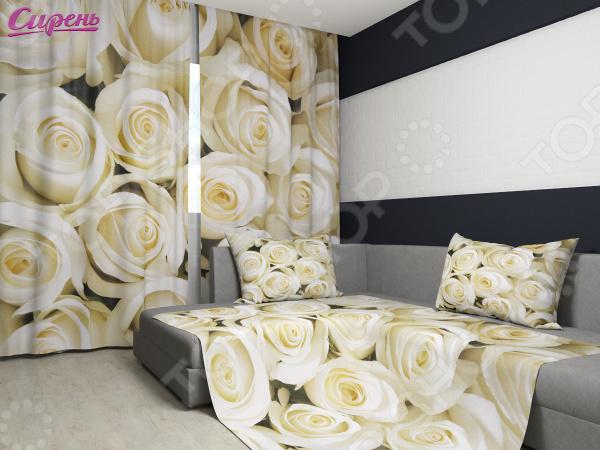 Комплект: фотошторы и покрывало Сирень «Душистые розы» фотошторы сирень фотошторы оттенки цветов