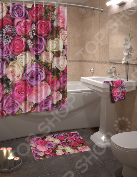 Набор для ванной комнаты: шторка и коврик ТамиТекс «Бутоны»