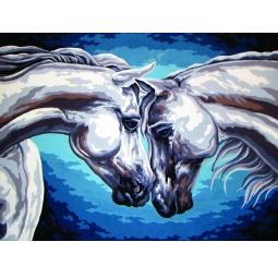 Канва с нанесенным рисунком Collection D'Art «Пара лошадей»