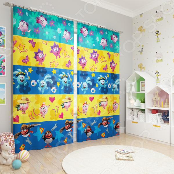фото Фотошторы блэкаут детские Сирень «Смешарики веселятся», Портьеры для детской комнаты