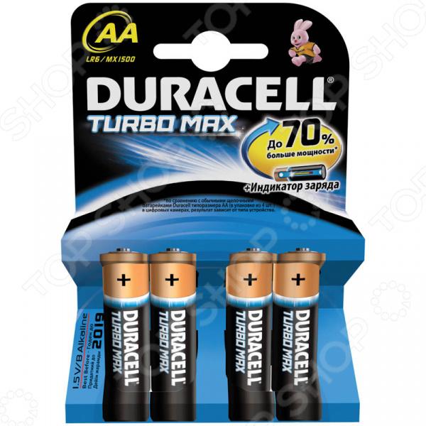Набор батареек Duracell LR6-4BL Max AA Turbo элемент питания duracell turbo max aa 8 шт