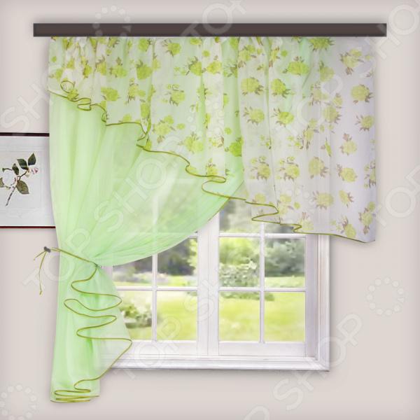 Комплект легких штор левосторонний WITERRA «Лира». Цвет: светло-зеленый. В ассортименте