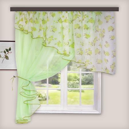 Купить Комплект легких штор левосторонний WITERRA «Лира». Цвет: светло-зеленый. В ассортименте