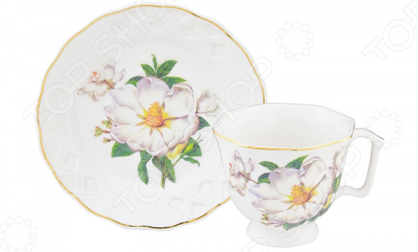 Кофейная пара Elan Gallery «Белый шиповник» 180991