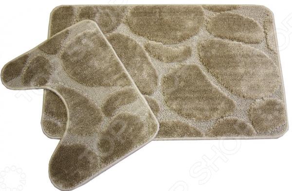 Комплект ковриков для ванной и туалета Cleopatra «Фремонт». Рисунок: камни