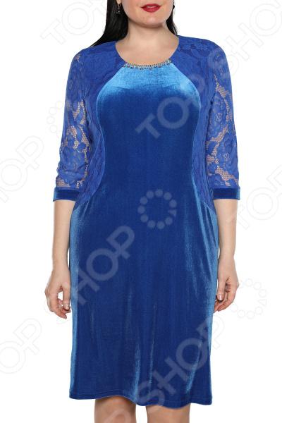 Платье Лауме-Лайн «Леди бархата». Уцвет: васильковый
