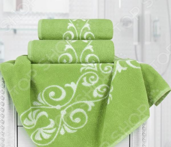 Полотенце махровое Aquarelle «Шарлиз». Цвет: белый, травяной полотенце махр aquarelle шарлиз 70х140см синее