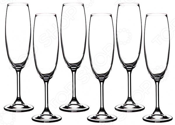 Набор бокалов для шампанского Crystalite Klara 669-071 набор бокалов crystalex джина б декора 6шт 210мл шампанское стекло