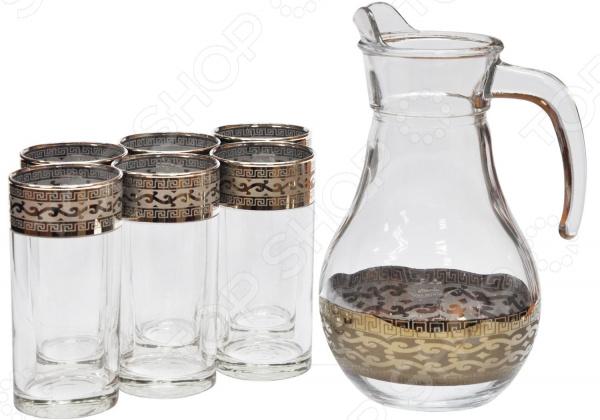 Набор: кувшин и 6 стаканов Гусь Хрустальный «Версаче» набор бокалов для бренди гусь хрустальный версаче 400 мл 6 шт