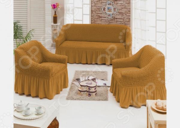 Натяжной чехол на трехместный диван и чехлы на 2 кресла и 6 стульев Karbeltex с оборкой. Цвет: горчичный