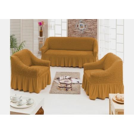 Купить Натяжной чехол на трехместный диван и чехлы на 2 кресла и 6 стульев Karbeltex с оборкой. Цвет: горчичный
