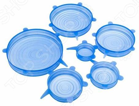 фото Набор силиконовых растягивающихся крышек для посуды. Количество предметов: 6, Крышки для посуды