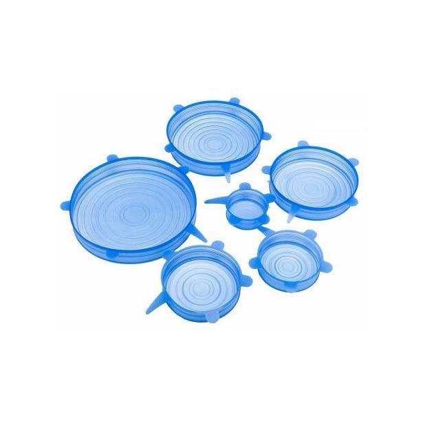 Набор силиконовых растягивающихся крышек для посуды. Количество предметов: 6