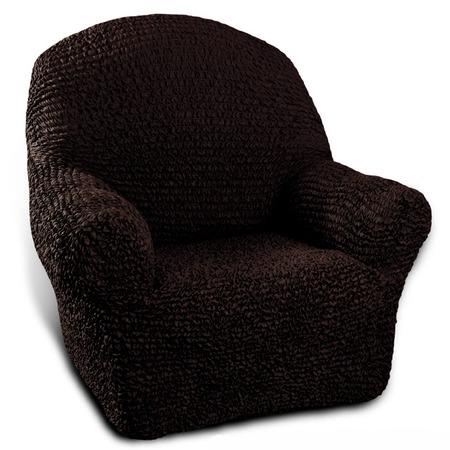 Купить Натяжной чехол на кресло Еврочехол «Микрофибра. Черный шоколад»