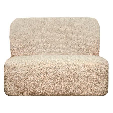 Купить Натяжной чехол на двухместный диван без подлокотников Еврочехол «Микрофибра. Ваниль»