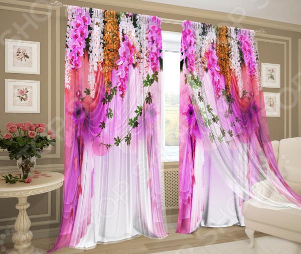 Фотокомплект: тюль и шторы ТамиТекс «Примадонна». Цвет: розовый