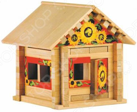 Конструктор деревянный Теремок с росписью «Избушка: Теремок с куклой и мебелью»