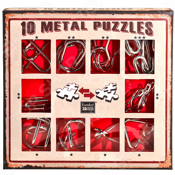 Набор головоломок Эврика 10 Metal Puzzles red set