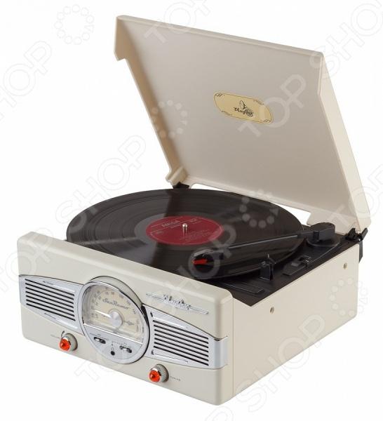 Ретро-проигрыватель виниловых пластинок Playbox PB-101 станет чудесным подарком для истинных меломанов и ценителей музыкального искусства. Ни для кого не секрет, что грампластинки это не просто дань ретро-моде и предмет собирательства многих коллекционеров, но еще и прекрасная возможность насладиться всей насыщенностью и глубиной звучания, что не под силу ни одному из цифровых аудионосителей. Проигрыватель выполнен в стильном ретро дизайне и снабжен радиоприемником с АМ FM FM ST диапазоном. Дисплей настройки радиочастот выполнен в форме спидометра и расположен на фронтальной стороне прибора. Помимо прочего, проигрыватель оснащен встроенной FM-антенной, динамиками и гнездом для наушников 3,5 мм.