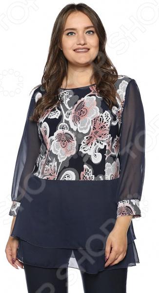 Блуза ТРЕНД «Легкий образ». Цвет: синий, серый блуза тренд безупречная цвет синий бирюзовый