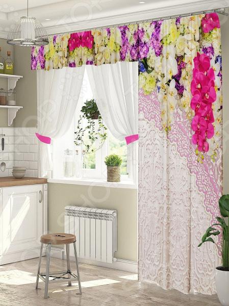 фото Комплект штор для окна с балконом ТамиТекс «Фрейлина». Цвет: розовый, Шторы для окна с балконом