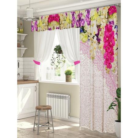 Купить Комплект штор для окна с балконом ТамиТекс «Фрейлина». Цвет: розовый