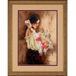 Канва для вышивания Dimensions «Девушка с букетом»