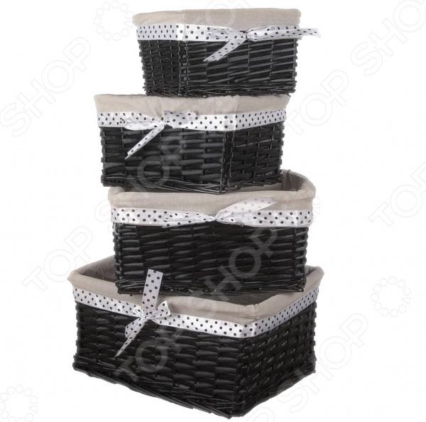 Набор плетеных корзин с вкладкой Miolla SL3. Количество предметов: 4 шт швабра miolla shv 4