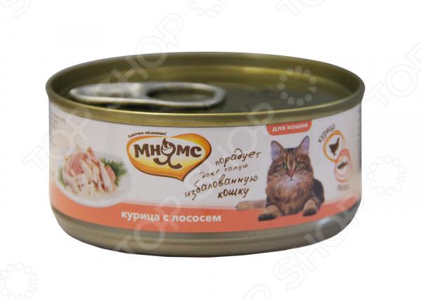 Корм консервированный для кошек Мнямс «Курица с лососем» мнямс мнямс дропсы salmon drops с лососем для кошек 60 г