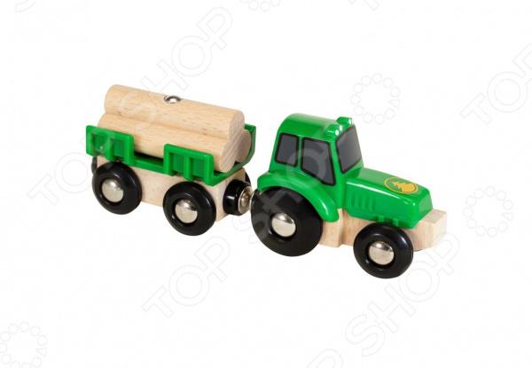 Трактор игрушечный Brio с бревнами и прицепом машины tomy трактор john deere 6830