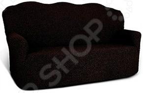 Натяжной чехол на двухместный диван Еврочехол «Микрофибра. Черный шоколад»