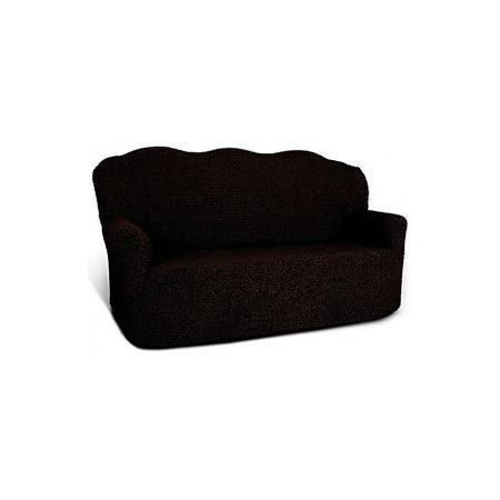 Купить Натяжной чехол на двухместный диван Еврочехол «Микрофибра. Черный шоколад»