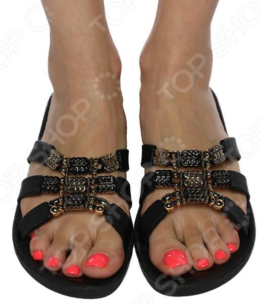 Сабо Mon Ami «Тропический закат». Цвет: черный ботинки calipso