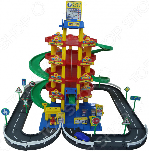 Набор игровой для мальчика Wader «Паркинг 5-уровневый с дорогой и автомобилями»